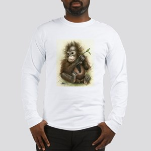 Orangutan Baby With Leaves Long Sleeve T-Shirt