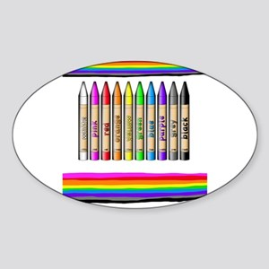 Rainbow Crayon Sticker (Oval)