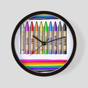 Rainbow Crayon Wall Clock