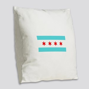 Chicago Flag Burlap Throw Pillow