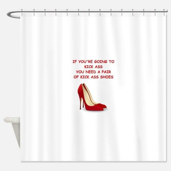red high heels Shower Curtain