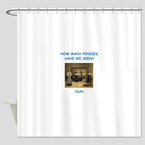 sick nun joke Shower Curtain