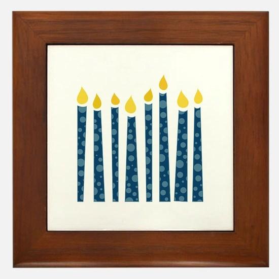 Hanukkah Candles Framed Tile