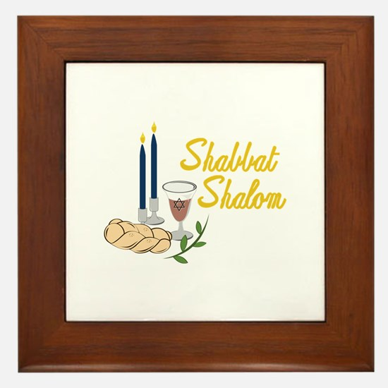 Shabbat Shalom Framed Tile