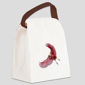 Spoonbill in Flight Canvas Lunch Bag
