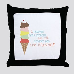 We All Scream For Ice Cream! Throw Pillow