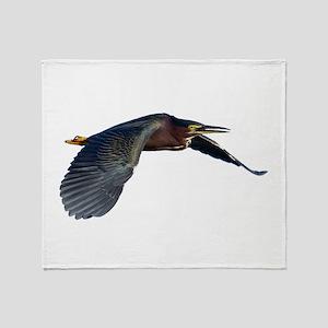 Green Heron Throw Blanket
