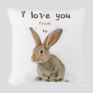I Love You from Ear to Ear Woven Throw Pillow