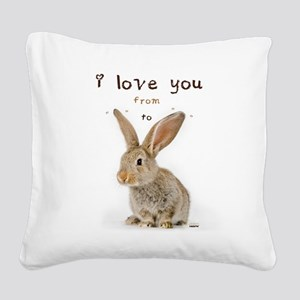 I Love You from Ear to Ear Square Canvas Pillow