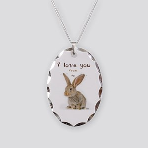 I Love You from Ear to Ear Necklace Oval Charm