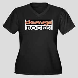 Cleavage Rocks!  Women's Plus Size V-Neck Dark T-S