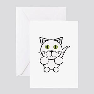 White Kitty Cat Greeting Cards