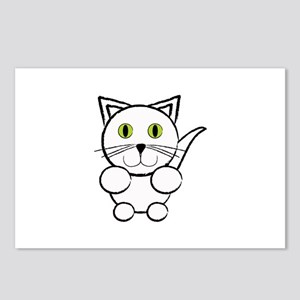 White Kitty Cat Postcards (Package of 8)