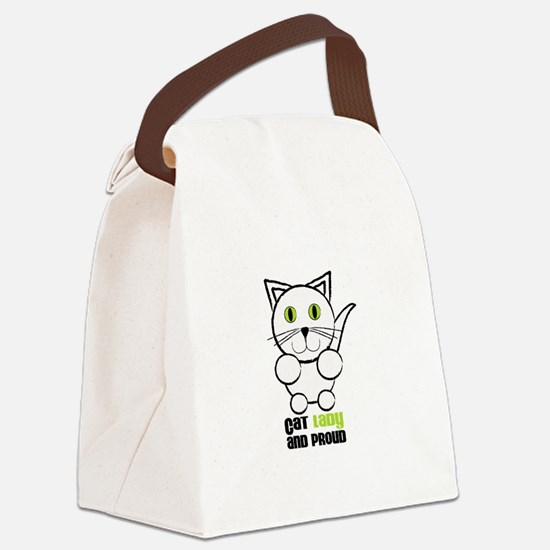 Cat Lady And Proud Canvas Lunch Bag