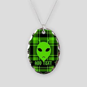 Alien Face Plaid Necklace Oval Charm