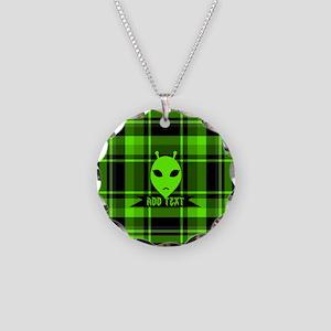 Alien Face Plaid Necklace Circle Charm