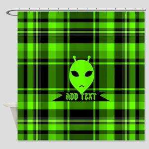 Alien Face Plaid Shower Curtain