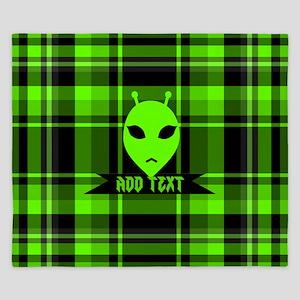 Alien Face Plaid King Duvet