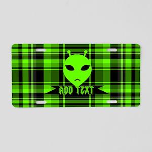 Alien Face Plaid Aluminum License Plate