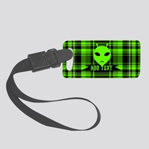 Alien Face Plaid Small Luggage Tag