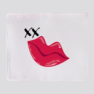 Red Lips Kiss Throw Blanket