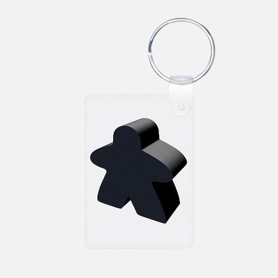 Black Meeple Aluminum Photo Keychain