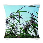 Hay in the summer Woven Throw Pillow