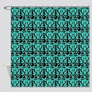 black and turquoise shower curtain. Black And Turquoise Damask Pattern Shower Curtain Vintage And Curtains  CafePress