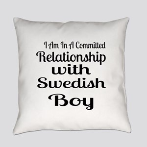 I Am In Relationship With Swedish Everyday Pillow