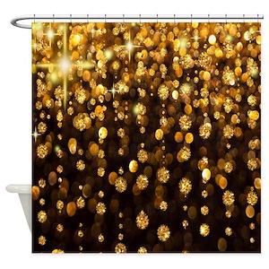 Gold Glitter Shower Curtains