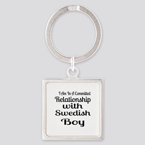 I Am In Relationship With Swedish Square Keychain