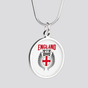 Soccer England Vintage Wings Silver Round Necklace