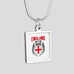 Soccer England Vintage Win Silver Square Necklace