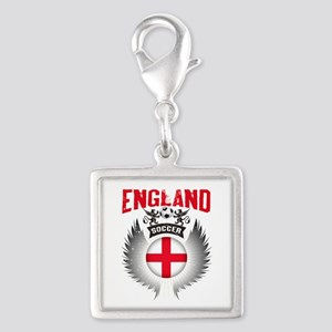 Soccer England Vintage Wings Silver Square Charm