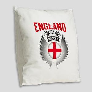 Soccer England Vintage Wings Burlap Throw Pillow