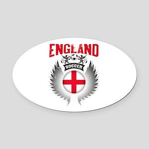 Soccer England Vintage Wings Oval Car Magnet