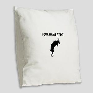 Custom Goat Silhouette Burlap Throw Pillow