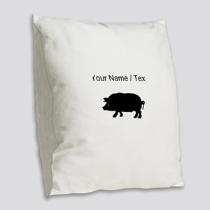 Custom Pig Silhouette Burlap Throw Pillow