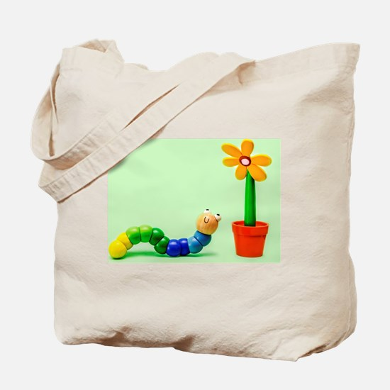 Caterpillar and Flower Tote Bag