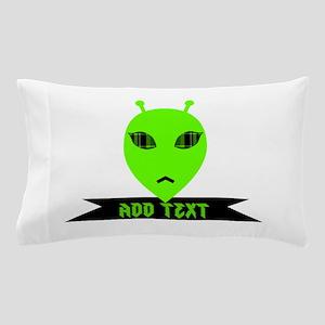 Plaid Eyed Green Alien Head Pillow Case