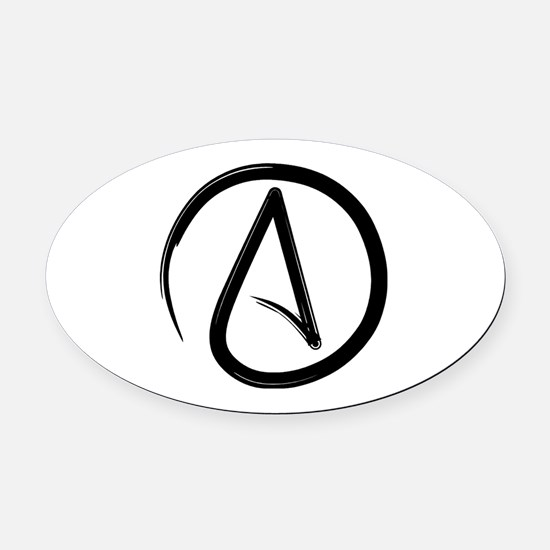 Atheist Symbol Oval Car Magnet
