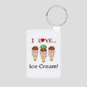 I Love Ice Cream Aluminum Photo Keychain