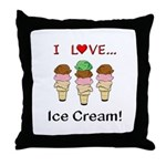 I Love Ice Cream Throw Pillow