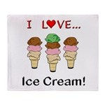 I Love Ice Cream Throw Blanket