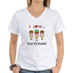 I Love Ice Cream Women's V-Neck T-Shirt