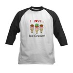 I Love Ice Cream Kids Baseball Jersey