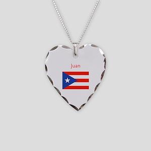 Custom Name Bandera Boriqua Necklace Heart Charm