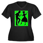 Women's Plus Size V-Neck Dark Dance T-Shirt