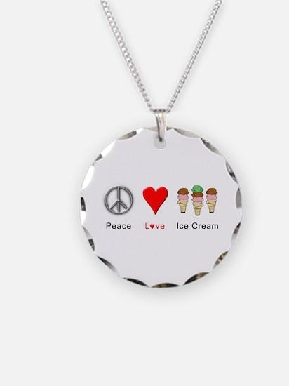 Peace Love Ice Cream Necklace