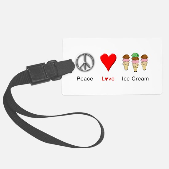 Peace Love Ice Cream Luggage Tag